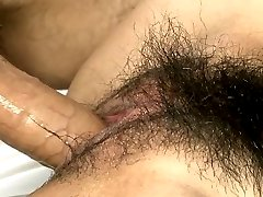Naughty chesty Japanese goddess Akimi gets hairy twat fucked hard