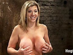 Welcome Sara Jay to hogtied, this sexy MILF has monstrous EE breasts and loves them bound...