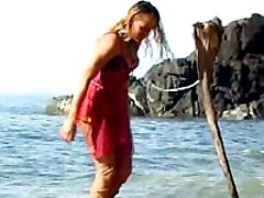 Ocean beach sextoying videos with a gorgeous bondage model in sexy and wet outfit