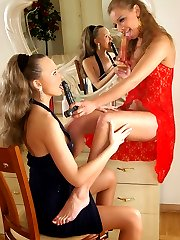Sizzling hot lesbian babes getting wild pleasure from their beloved sex toy