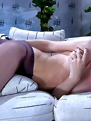 Upskirt maid changes into saturated with her hot pussy juices pantyhose