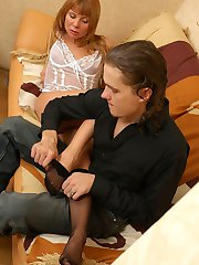 Awesome chick changing her white stockings for black hose in hot scoring