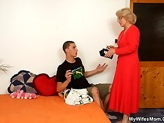 When he fucks the mature beauty the two of them get naughty together and get off