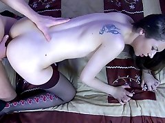 Hot-assed brunette gags on a boner getting ready to take it up the brown