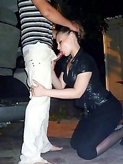 Young amateur girl sucking dick near the car
