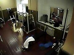Blondie filmed on hidden backstage cam at the gym