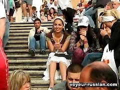 Group of Russian girlsturned into sweet upskirt models filmed in public