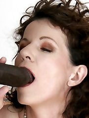 Older, mature, slut with hairy beaver rides black pole!
