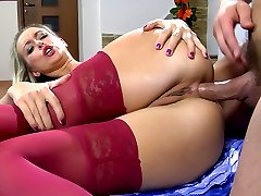 Blonde doll gets her polka-dot dress hiked up for deep oral and anal sex
