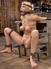Allie James is locked into our Automatic-Blow-Job-Machine. Its a devious device designed to lock...