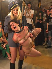 Two gorgeous slut pets are out on public patrol. Lead around by a leather leash, these nude...