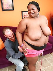Massive ebony BBW Chocolat Hottie slobbering a thick cock before cramming it into her gash live