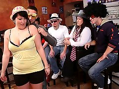 Wild party girls are fat and stripping nude so the guys can grope and fondle them as they wish