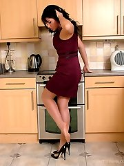 Michelle knows that you just love her shoes, the high thin heel and the low cut toe cleavage...