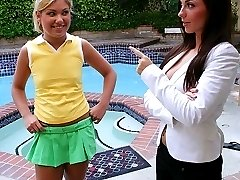 Mature brunette starts hot lesbian toy and finger action with young blonde