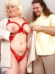 Fat hairy boy pumps an aged chubby blonde