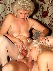 Flabby ass matures Francesca and Erlene taking turns in sucking off and riding a cock on top