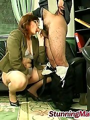 Mature babe seducing Caucasian man into hardcore play right in the office