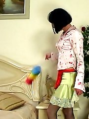 Nasty sissy guy getting his ass spanked and crammed by a strap-on armed gal