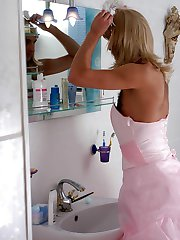 Sissy guy in wedding dress feeling harsh thrust of strap-on into his ass