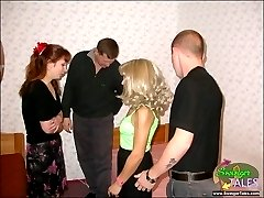 Messy swinger gangbang at homebr