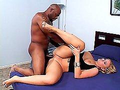 Blonde slut spreads her legs apart for a deep black dick drilling