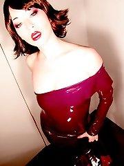 Asian beauty burgundy fetish dress opera gloves