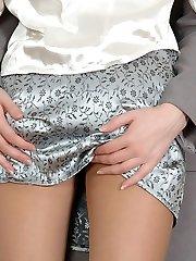 Nylon-addicted secretary babes enjoying sheer nylon while tasting hot pinks