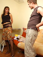 Lascivious mature chick in black pantyhose tempting a guy into wild scoring