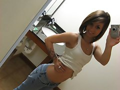 Wonderful teen girl in yellow panties grabs her camera and sends to boy some provocative pictures