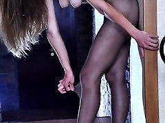 Dressed to kill babe boasting gorgeous barely black pantyhose on long legs