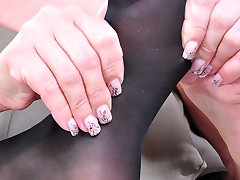 Strapon lesbians worship sexy feet in reinforced sole and control top hose
