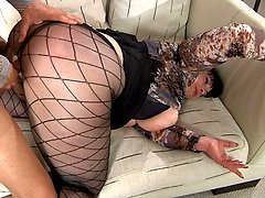 Older fatty slammed thru her laddered fashion hose by a horny next-door boy
