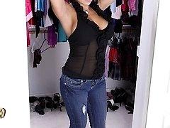 Latin MILF Eva Salizar unleashes her big breasts.