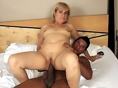 Videos of a mature MILF named Chamara swallowing and grinding her pussy on a black dick