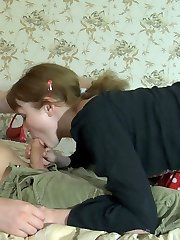 Lusty babe enjoys muff-diving thru her grey pantyhose aching for hot doggie