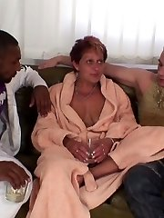 They get duped by a hottie at the bar and end up at the house of a mature slut to fuck