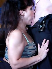 Outrageously hot mature chick gets served anal right on the billiard table