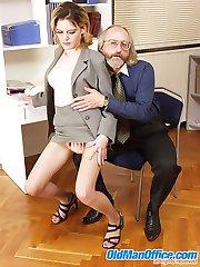 Loose blonde secretary beats ancient office guys love rod