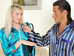 Young blondie knows the best way to seduce an older male into oral games