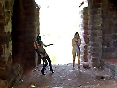 Ruined castle is a perfect place for lesbian fetish games and kinky femdom routines
