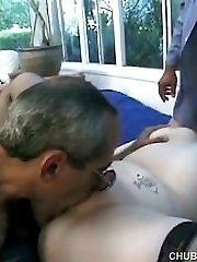 Busty plumper gets spit roasted