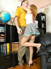 Well-hung coach giving a fucking lesson to cutie in slight sheen stockings