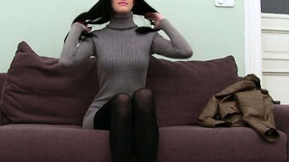 Pantyhose secretary tied up at work