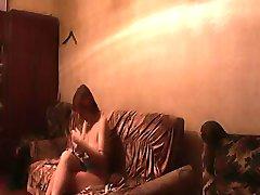 Nude mature woman under voyeur control