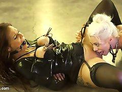 Sensual latex Goddess Lorelei Lee has tough slut Syren de Mer at her mercy. Syren eagerly...