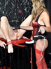 Strapon Jane is planning on doing very naughty things to her submissive slave.