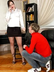 Lascivious secretary longing for hot strap-on break with sex-addicted guy