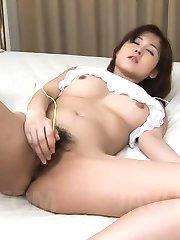 Mai Hanano Asian has hairy nooky in huge orgasm from vibrator