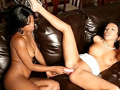 Lesbian lovers Kapri Styles and Maya Gates spread their legs wide and give their cunts a wild...